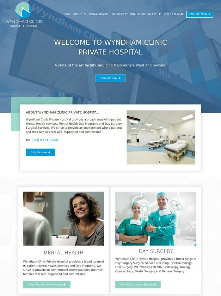 Wyndham Clinic private Hospital website